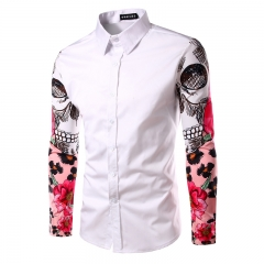 Men Shirt Long Sleeve Shirts Casual Male Slim Fit Printing Stitching Cuffs Chemise Mens Dress Shirts white M