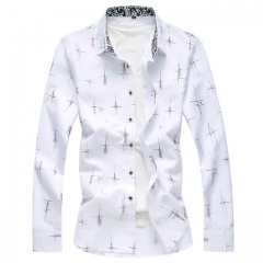 Men Casual Shirt Spring Autumn Long Sleeve Blue White Slim Printing Slim Fit Print Social Camisa white Asian size M