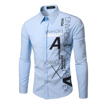 Mens New Fashion Slim Long Sleeve Dress Shirts Novelty A Tattoo Printed Casual Shirt Size blue XL