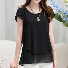 New Summer Women Blouse Loose Shirt O-Neck Chiffon Blouse Female Short Sleeve Blouse Plus Size 5XL black S