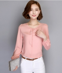 Plus Size Women Long Sleeve Autumn Chiffon Blouse Shirt Korean Casual Loose Elegant  Blusas Tops pink M