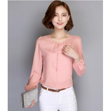 Plus Size Women Long Sleeve Autumn Chiffon Blouse Shirt Korean Casual Loose Elegant  Blusas Tops pink M
