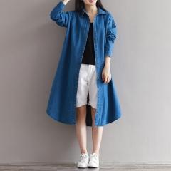Women Denim Shirts Autumn New Women Blouses Button Long Sleeve Blue Casual Loose Long Shirts blue L