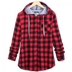 Women Hoodies Cotton Coat Long Sleeve Plaid cotton Hoodies Casual button hooded Sweatshirt Oversize red S