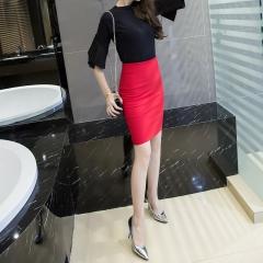 Autumn Plus Size Slim Sexy Formal Office Faldas Women Elastic High Waist Step Pencil Saias Skirts red S