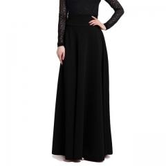 New High Waist Pleat Elegant Skirt Solid Color Long Skirts Women Faldas Saia  Plus Size Ladies Jupe black S