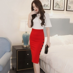 Plus Size Women Work Midi Skirt OL Sexy Open Slit Button Slim Pencil Elegant Office Ladies Skirts red S