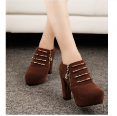 Womens Platform Ankle Boots Chunky High Heels Zipper Leopard Faux Leather Boots Casual Ladies Shoes brown US5