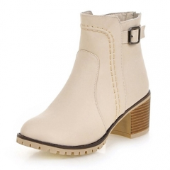 women ankle boots with Buckle zipper Thick high-heeled Platform shoes plus size Female Footwear beige 37