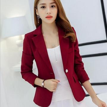 New Fashion Single Button Blazer Women Suit Jacket Green/Yellow/Black Blaser Female Blazer Femme red M