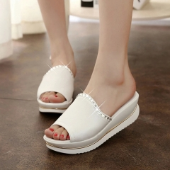 Summer Girl PU Leather Sandals Slides Women Slippers Wedges Platform Shoes with Crystal white US5.5