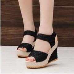 Women Sandals Summer New Open Toe Fish Head Fashion platform High Heels Wedge shoes black US8