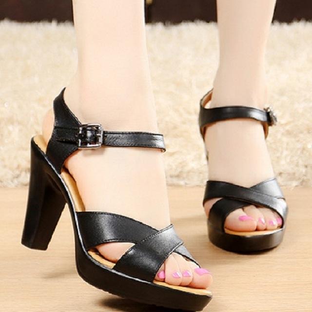 5f69ba3af Summer Women Pumps Fashion Gladiator Sandals Leather High Heels Roman Sandals  Peep Toe Size black 4.5