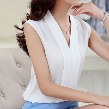 New Fashion Women Chiffon Blouses Ladies Tops Female Sleeveless Shirt Blusas Femininas white M