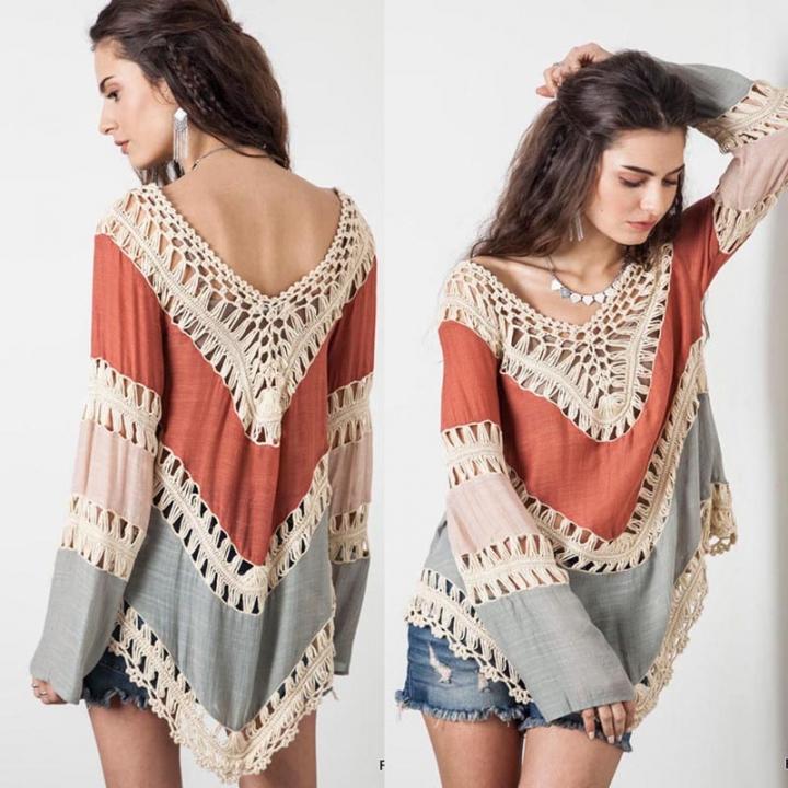 0643dea0b7 Women Hollow Bikini Cover Up Blouse Tops Bohemian Style Crochet Lace Summer  Beach Poncho Coverup orange