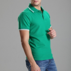 Polo Shirt Solid Casual Polo Homme For Men Tee Shirt Tops High Quality Cotton Slim Fit green S
