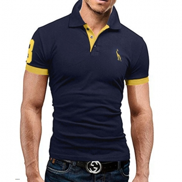 Mens Polo Shirt Brands 2017 Male Short Sleeve Fashion Casual Slim Deer Embroidery Printing Men Polos #01 M
