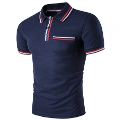 New Summer Fashion Casual Men's Polo Shirts Solid Turn-Down Collar Short Sleeve Breathable Male Polo blue S