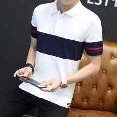New Fight Color Slim Polo Shirt Men Business Casual solid male polo shirt Short Sleeve breathable white M