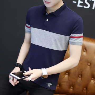 New Fight Color Slim Polo Shirt Men Business Casual solid male polo shirt Short Sleeve breathable navy blue M