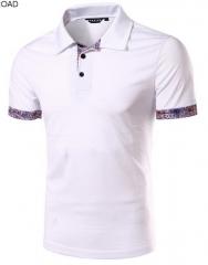 New Men Polo Shirt Fashion Flower Print Homme Slim Fit Short Sleeve Polos Shirt Men Summer Tops Tees white M