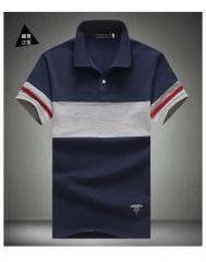 2017 Original Short Sleeve Patchwork Polo Male Casual Turn-Down Collar Polo Shirt Slim Striped Thin blue M