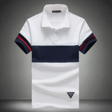 2017 Original Short Sleeve Patchwork Polo Male Casual Turn-Down Collar Polo Shirt Slim Striped Thin white L