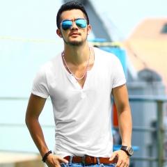 Men's t-shirt V-neck mandarin collar solid casual t-shirts short sleeve summer men Plue size white S