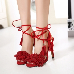 Summer Tassels Sexy Shoes Women Ankle Strap High Heels Open Toe Cross Strap Wedding Party Sandals red US5