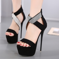 Fashion Zip High Heels Summer Women Pump Shoes Woman Cross Strap Crystal Elegant Sandals black US4