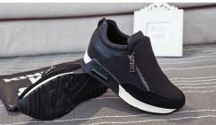 Fashion Casual Women's Shoes Hidden Heel Increased Internal Female Casual Shoes Side Zipper black US5