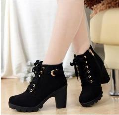 Autumn Winter Velvet Short Ankle Boot Thick Heels Wild Black Matte Female  Martin boots black US6