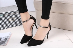 Fashion Women Pumps Thin Heels Suede Crystal Cutouts High Heels Shoes Stiletto Buckle Strap Shoes black US5