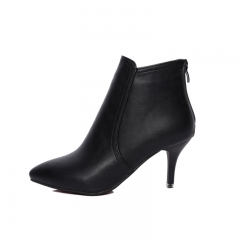 Genuine Leather Ankle Boots Women's Fashion Boots Female Pointed Toe Stiletto High Heel Sexy Shoes black 7cm US5