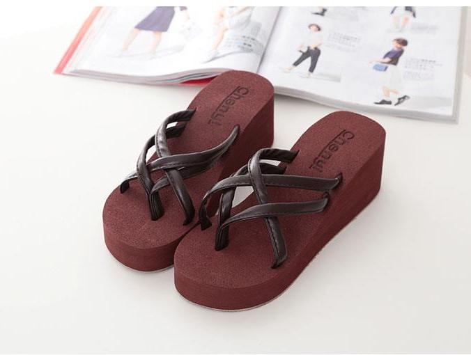 89c3a57fa0e Summer Women s Ultra High Heels Beach Slippers Fashion Wedges Platform  Sandals Flip Flops Shoes brown 6  Product No  730226. Item specifics  Brand