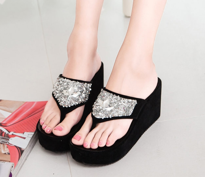 3a2174dd8 Flip flop slipper summer women shoes wedges bling thong outdoor sea slides  sexy high quality gilrs black US5  Product No  730279. Item specifics   Brand
