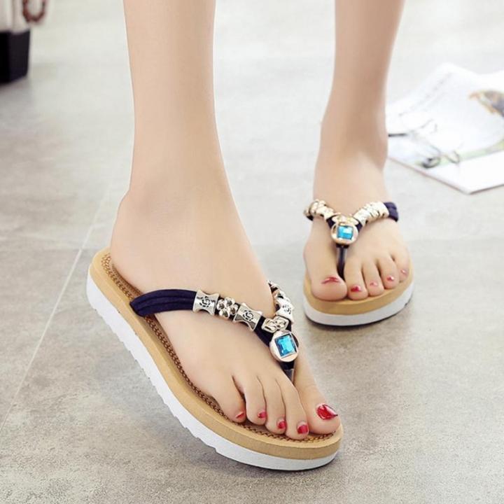 d83888675b52f U Leather Women Casual Beach Flip Flops Sandals Flat With Slippers Sandals  Summer Shoes Slides blue