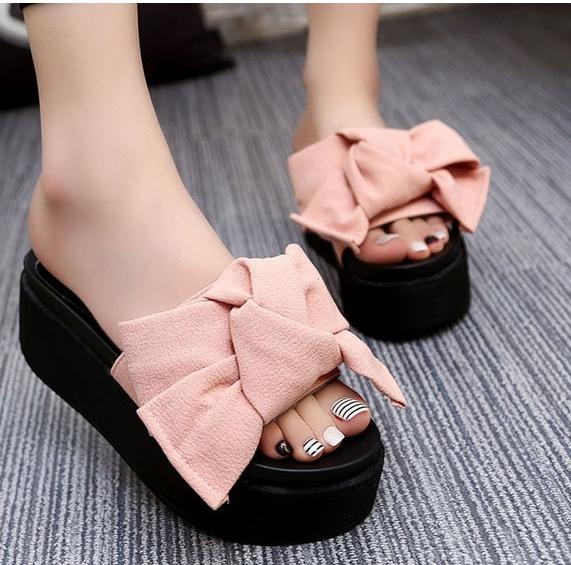 184423242b7e3d Sweet Butterfly-Knot Summer Women Shoes Platform Anti-Skid Slippers Wedge  Beach Flip Flops High Heel pink US 4  Product No  731979. Item specifics   Brand