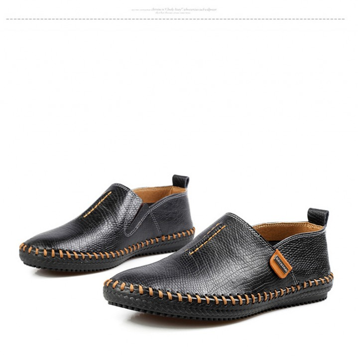 da3fab46667 Best Quality Genuine Leather Men Flats Casual Soft Loafers Comfortable  Driving Breathable Shoes black US11