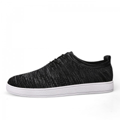 Fashion Fly Weave Breathable Men Causal Shoes Superstar Lace Up Comfort  Leisure Walking Flat black US7