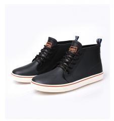 rain boots waterproof flat with shoes men rain unisex water rubber ankle boots lace up botas black US7