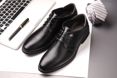 Summer breathable Men's genuine leather shoes oxfords high quality Tointy-toe business dress shoes black US6.5