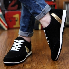 New Fashion Summer Casual Shoes Suede Men Trainer Classic Breathable Flat Shoes Zapatos Hombre black US6.5