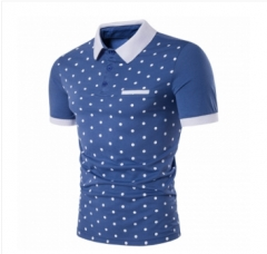 Summer New Men's Casual Wave Point Printing Lapel Short Sleeve Cotton Polo Shirts Slim Fit blue S