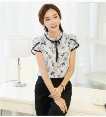 Summer Floral Chiffon Blouse Ruffled Collar Bow Neck Shirt Petal Short Sleeve Chiffon Tops Plus Size sky blue S