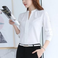 Spring Autumn Women Tops Long Sleeve Casual Chiffon Blouse Female V-Neck Work Wear Office Shirts white S