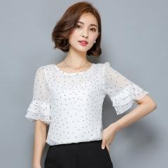 Women Blouses 2017 Summer Short Sleeve Chiffon Blouse Shirt Polka Dot Women Shirts Plus size Tops white S