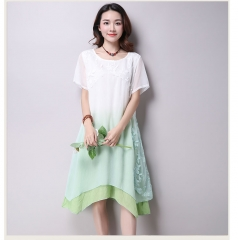 New lace short sleeve gradation women casual cotton Linen dress Printing o-neck vestidos de festa green M