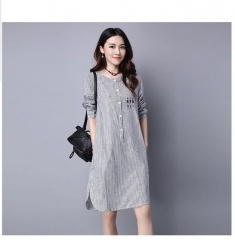 Vestidos Women's Fashion Cotton Linen Spring Dresses Robe Casual Cartoon Print Blouse Shirt Dress #01 M