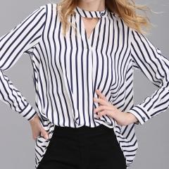 Women Summer Autumn Tops Chiffon Shirts New Striped Plus Size Loose Elegant Office Ladies Blouses #01 S